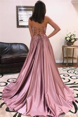 Sexy V-neck Sleeveless Front Slit Long Prom Dresses_4