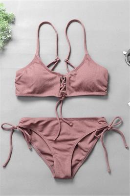 Spaghetti Straps Lace-up Bras Two Piece Sexy Bikini Swimsuits_3