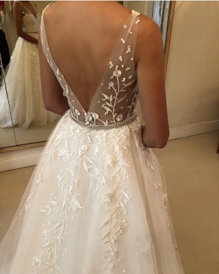 Glamorous Straps Applique Wedding Dresses with ribbons_3