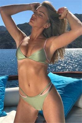 Spaghetti Straps Triangle Pads Plain Sexy Bikini Sets_8