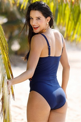 One Piece Color Stripe Straps Bathing Suits_8