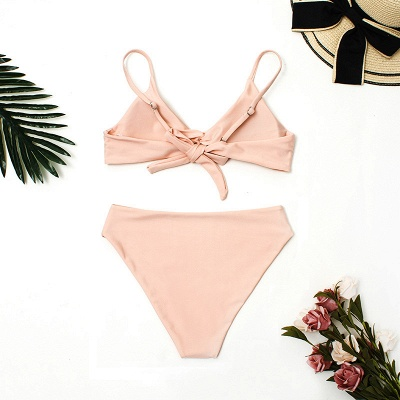 Vintage Nude Pink Knot Straps Two Piece Sexy Bikinis_5