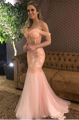 Gorgeous Pink Off-The-Shoulder Applique Mesh Sexy Mermaid Prom Dress_1
