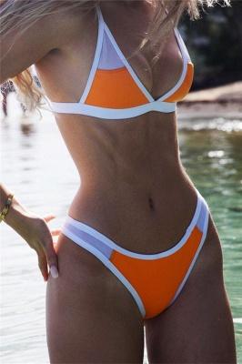 Triangle Pads Colorful Plain Sheer Net Sexy Bikini Sets_13