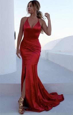 V-neck Spaghetti Sleeveless Sexy Mermaid Front Slit Prom Dresses_1