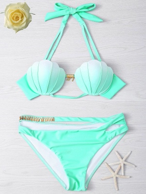 Shell Shaped Gradient Mint Green Sexy Bikini Set_1