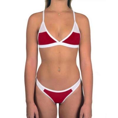 Triangle Pads Colorful Plain Sheer Net Sexy Bikini Sets_3