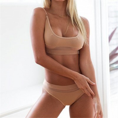 Simple Two Piece Hollow Out Mesh Sexy Bikini Sets_7