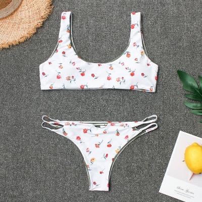 Girly Straps Flower Prints White Two Piece Sexy Bikini Swimsuits_7