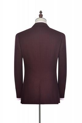 Dark Red Small grid Peak Lapel Custom Suit For Men | New Single Breasted One Button Groomsmen Men Business Suit_3