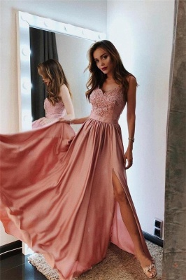 Glamorous Spaghetti-Strap Applique Prom Dresses | Side slit A-Line Sleeveless Sexy Evening Dresses_1