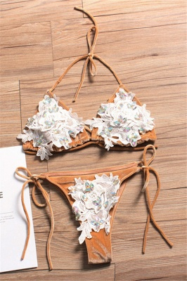 Shiny Sewing Diamonds Push-up Bra Triangle Sexy Bikini Swimsuits_1