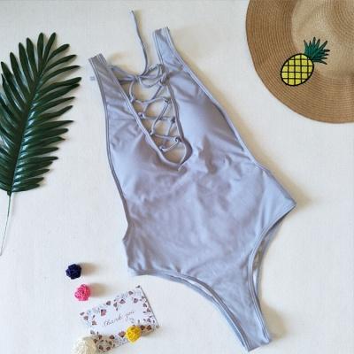V-neck Straps Lace-up One Piece Swimwear_3