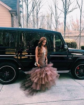 Gorgeous Straps Sleeveless Applique Mesh Sexy Mermaid Prom Dress_4