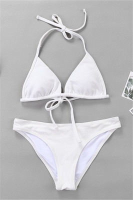 Plain Triangle Pads Halter Two Piece Sexy Bikini Sets_15