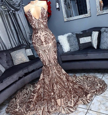 V-neck Sequins Sleeveless Sexy Mermaid Floor Length Prom Dresses_1