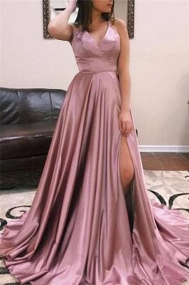 Sexy V-neck Sleeveless Front Slit Long Prom Dresses_5