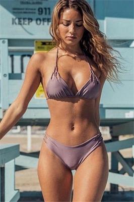 Halter Pads Spaghetti Straps Two Piece Sexy Bikini Sets_1