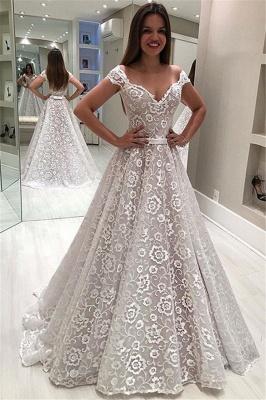 Gorgeous Off-The-Shoulder Appliques A-Line Wedding Dress_1