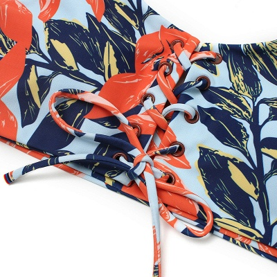 High Waist Lace-up Straps Flower Prints Sexy Bikinis_3