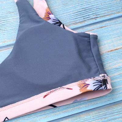 Flower Prints Pink Two Piece Lovely Sexy Bikini Swimwear_7
