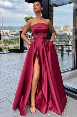Cheap Burgundy Strapless Side-Slit  Evening Gown_1