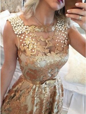 Glamorous Gold Straps Beaded Sequins Sleeveless Prom Dress_2