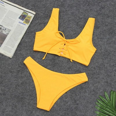 Plain Straps Lace-up Two Piece High Waist Sexy Bikini Sets_8