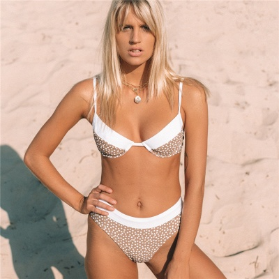 White Dots Two Piece Pads Spaghetti Straps Sexy Bikinis_5