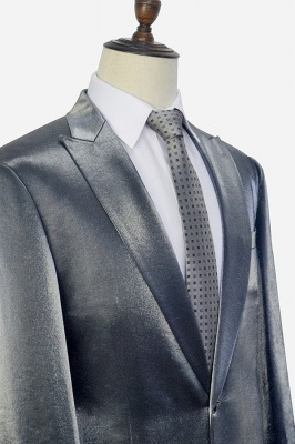 Hot Recommend Grey Velvet Custom Wedding Suit For Groom | Peak lapel Single Breasted 2 Pocket Formal Men Suits_5
