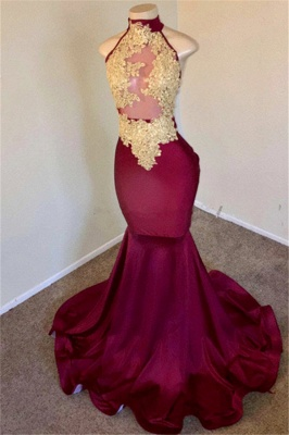 Burgundy High-Neck Applique Sleevless Sexy Mermaid Prom Dresses_2