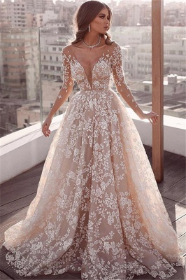 Beautiful Lace Applique Wedding Dresses | Long Sleeves Floral Bridal Gowns_1