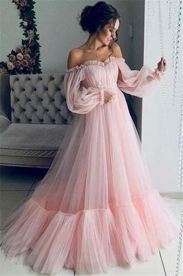 Glamorous Off-The-Shoulder Long-Sleeves Sheer-Mesh  Prom Dress_2
