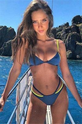 Spaghetti Straps Triangle Pads Plain Sexy Bikini Sets_2