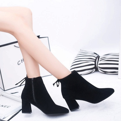 Chunky Heel Daily Lace-up Pointed Toe Zipper Elegant Boots_3