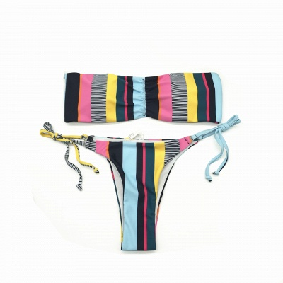 Colorful Bateau Strapless  Two Piece Sexy Bikini Swimwear_4