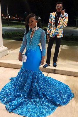 Gorgeous High-Neck Appliques Flower Long-Sleeves Mermaid Prom Dress_3