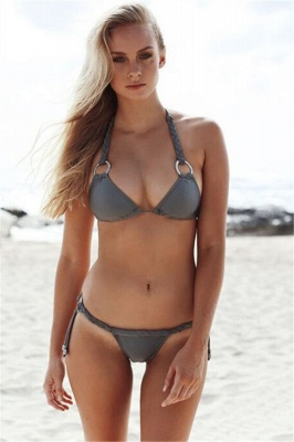Halter Bandage Swimwear Triangle Two Piece Sexy Bikini Set_1