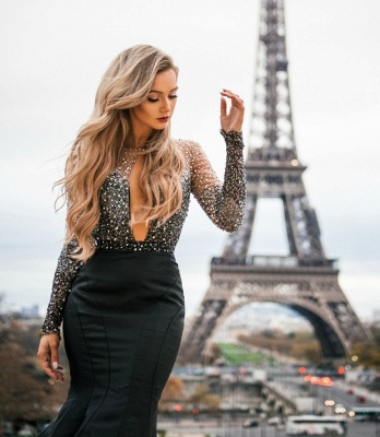 Glamorous Sheer-Mesh Appliques Sexy Mermaid Black Prom Dress with Long Sleeves_3