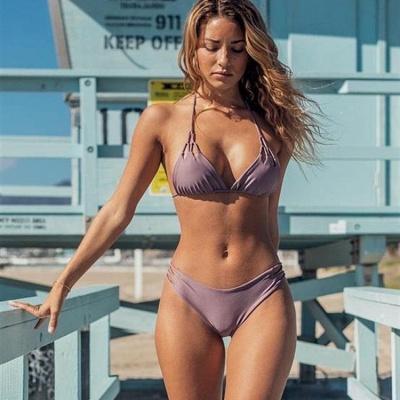 Halter Pads Spaghetti Straps Two Piece Sexy Bikini Sets_4
