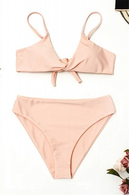Vintage Nude Pink Knot Straps Two Piece Sexy Bikinis_1
