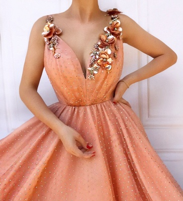 Orange Flower Appliques Straps Sleeveless Mesh  Prom Dress_2