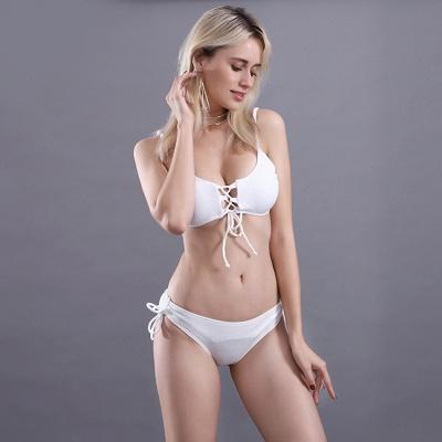 Spaghetti Straps Lace-up Bras Two Piece Sexy Bikini Swimsuits_18