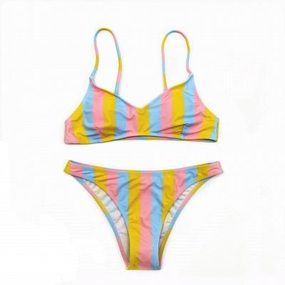Colorful Stripes Spaghetti Straps Two Piece Sexy Bikini Set_15
