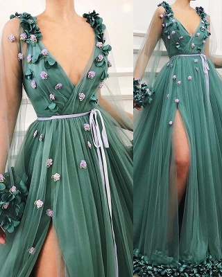 Glamorous Green Long-Sleeves Mesh Side-Slit  Prom Dress_3