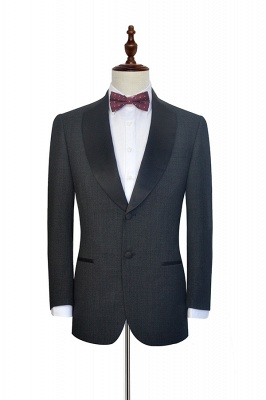 Dark Grey Black Shawl Lapel Two Bottons Wedding Suit For Groom | Hot Recommend Single Breasted Tailored 2 Piece Suits_3