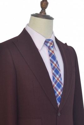 Dark Red Small grid Peak Lapel Custom Suit For Men | New Single Breasted One Button Groomsmen Men Business Suit_5