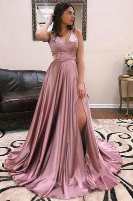 Sexy V-neck Sleeveless Front Slit Long Prom Dresses_3