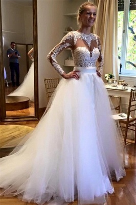 Glamorous Applique Jewel Long Sleeves Floral Wedding Dresses_1