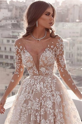 Beautiful Lace Applique Wedding Dresses | Long Sleeves Floral Bridal Gowns_2